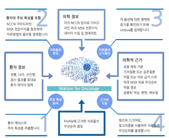암 치료 제안을 위한 왓슨의 작동 방식을 설명한 도표